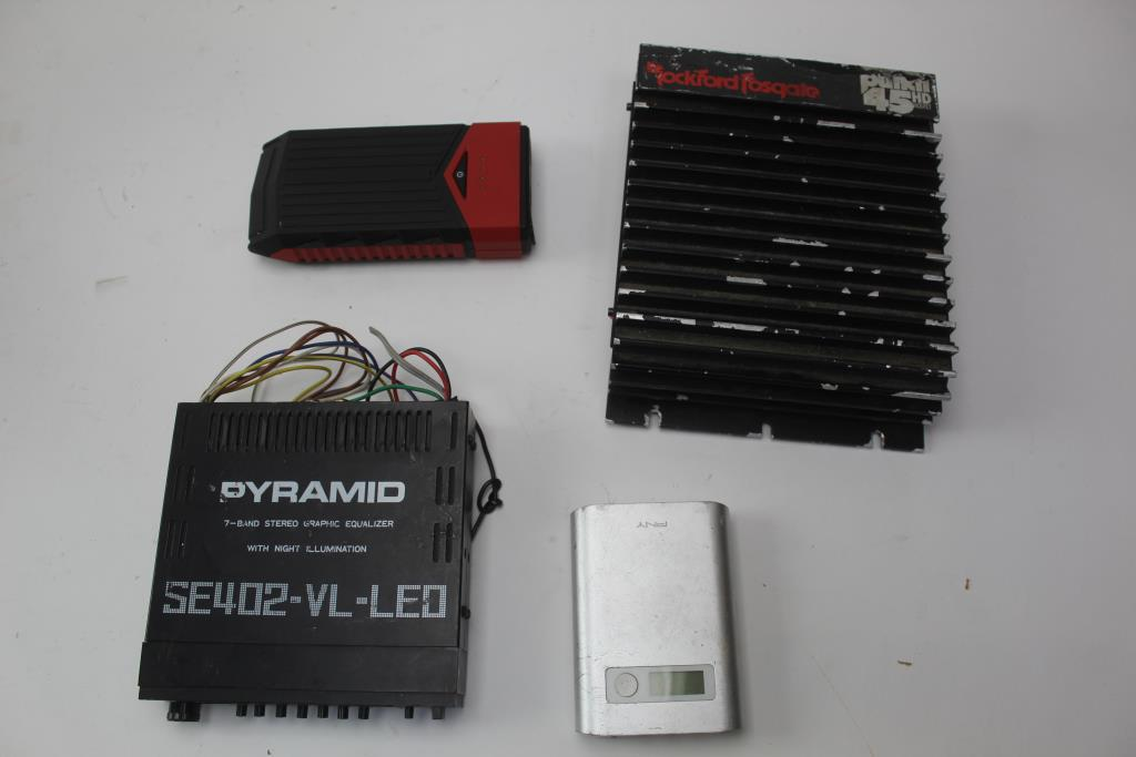 Rockford Fosgate Amplifier, Pyramid Stereo Equalizer, PNY