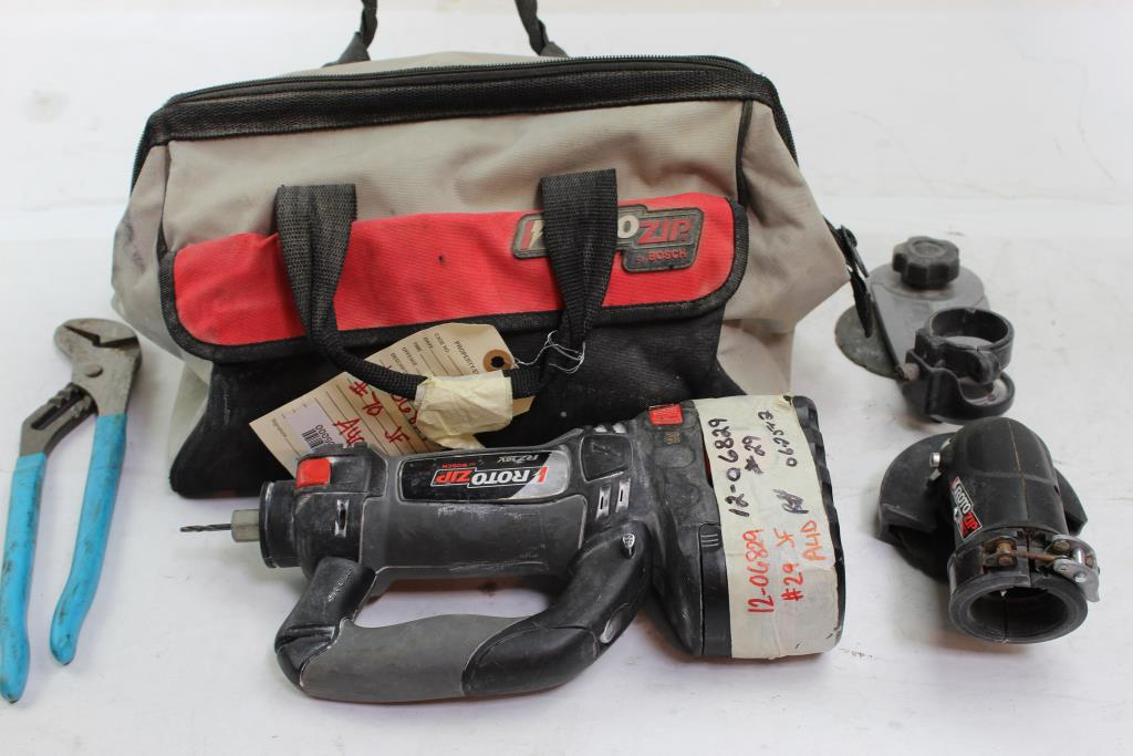 Rotozip By Bosch Tool Bag With Cordless Spiral Saw And More Various Tools