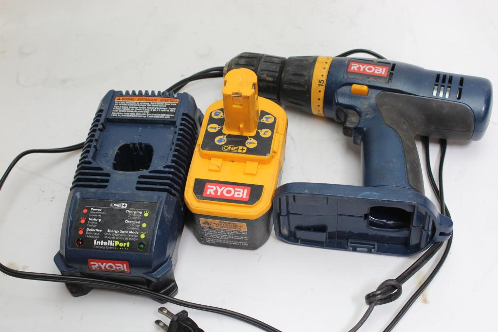 Ryobi Cordless Drill With 18V Battery Pack And Charger, 3 Pieces