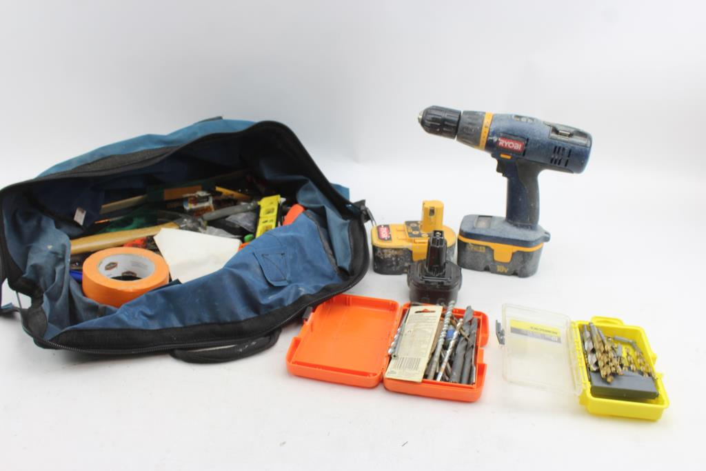 Ryobi P206 Drill/driver, Hammer, Pliers, Drill Bits And More: 40+