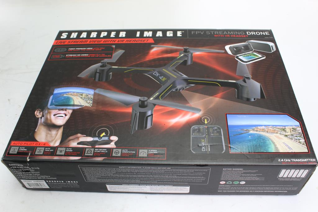 Sharper Image Fpv Streaming Drone With Vr Headset Property Room