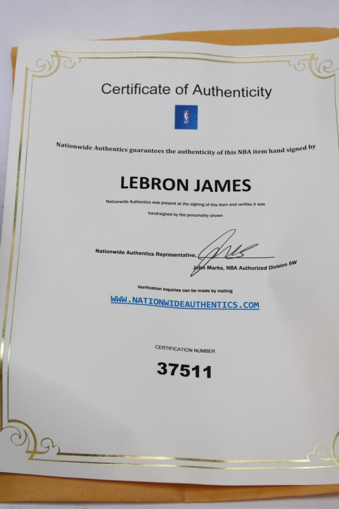 Signature Lebron James Basketball Plus Certificate Of Authenticity