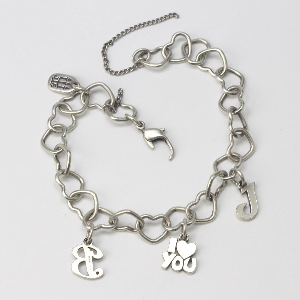 Silver 13g James Avery Connected Heart Charm Bracelet With