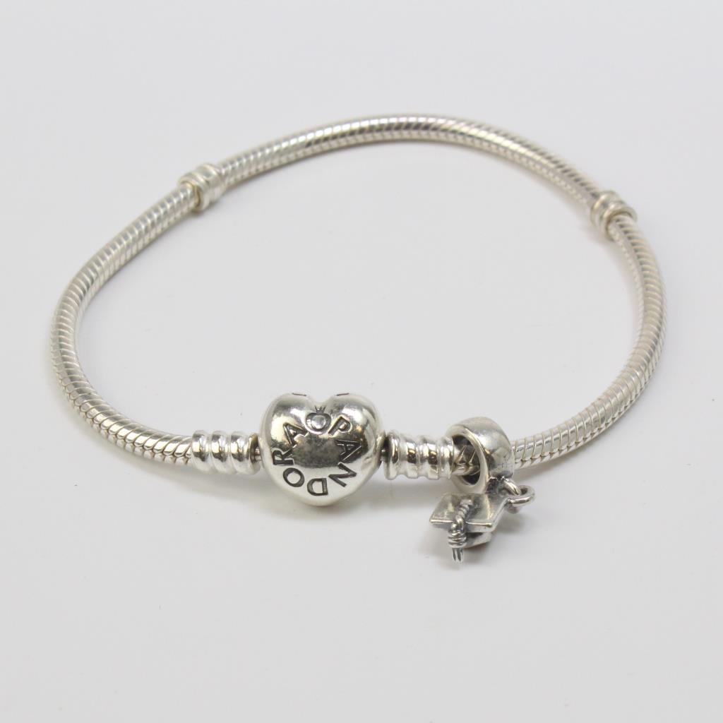 Silver 16 5g Pandora Bracelet With Graduation Cap Charm