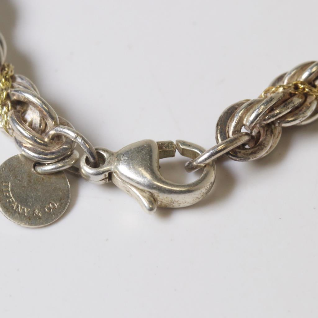 27c8fe7a3 Silver & 18kt Gold 14.5g Tiffany & Co. Twisted Chains Rope Bracelet ...