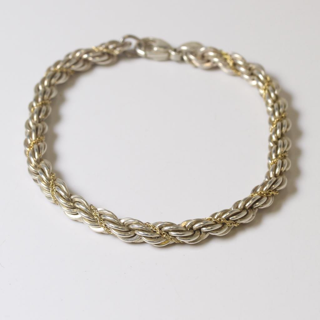 60e353b31 Image 1 of 3. Silver & 18kt Gold 14.5g Tiffany & Co. Twisted Chains Rope  Bracelet