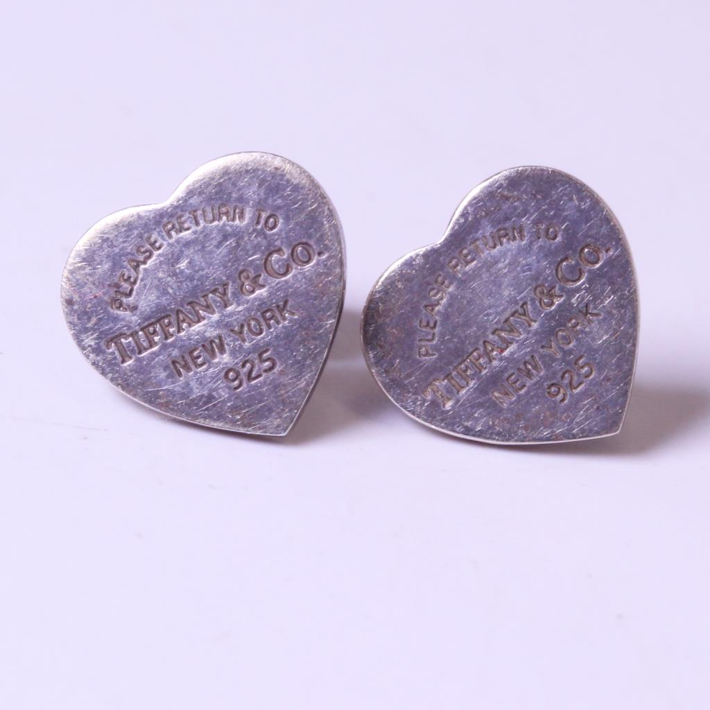 Silver 2g Please Return To Tiffany Co Heart Stud Earrings
