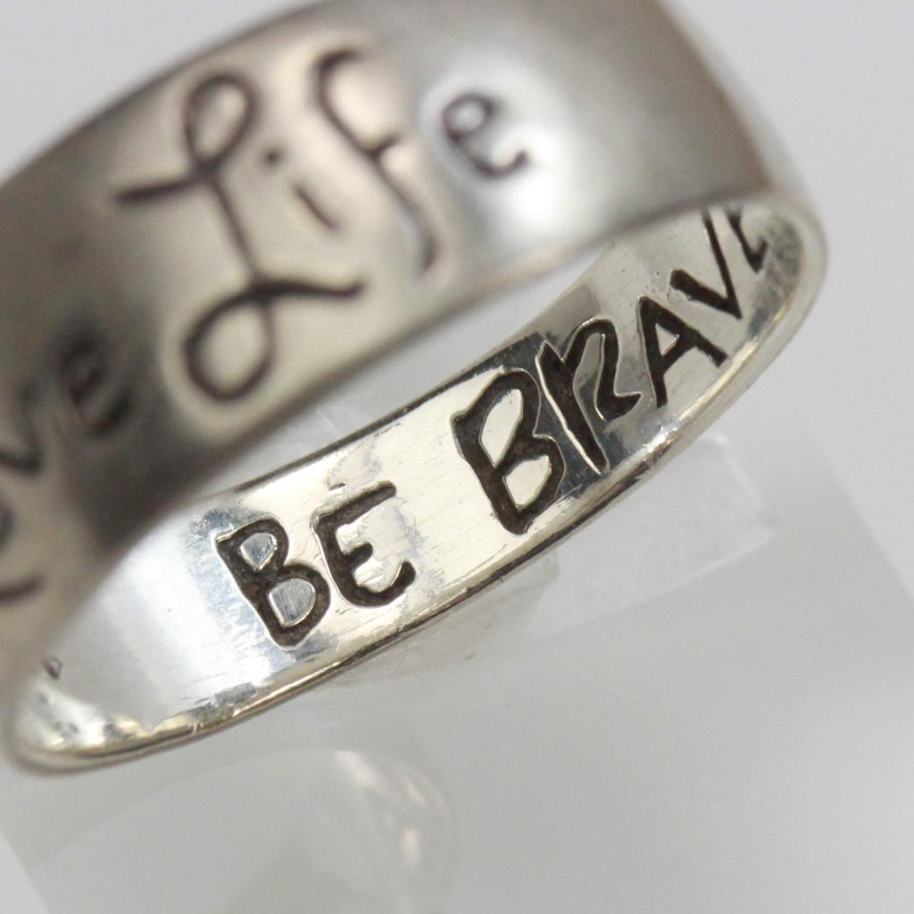 Silver 38g Love Life Be Brave Band Ring Property Room