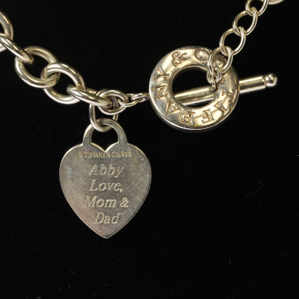 Silver 74g Tiffany Amp Co Heart Charm Toggle Choker