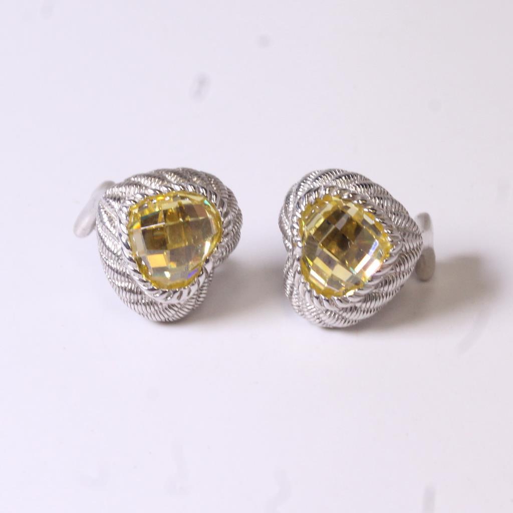Silver 8 5g Judith Ripka Yellow Stone Earrings