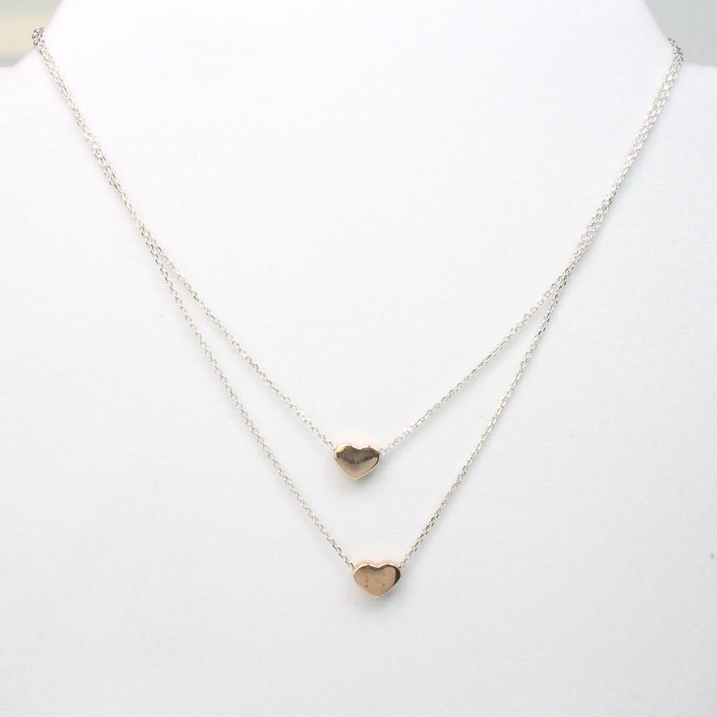 0a7c3e62940fc Silver & Rose Gold Plated 6.7g Dyadema Heart Double Chain Necklace ...