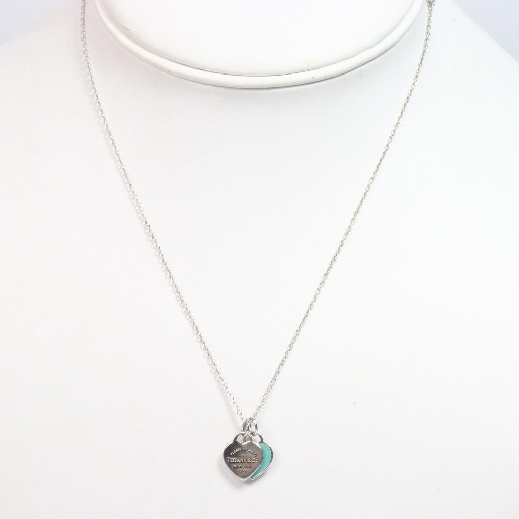 Silver Tiffany Co Necklace With Mini Double Heart Tag Pendant 2 88g Property Room