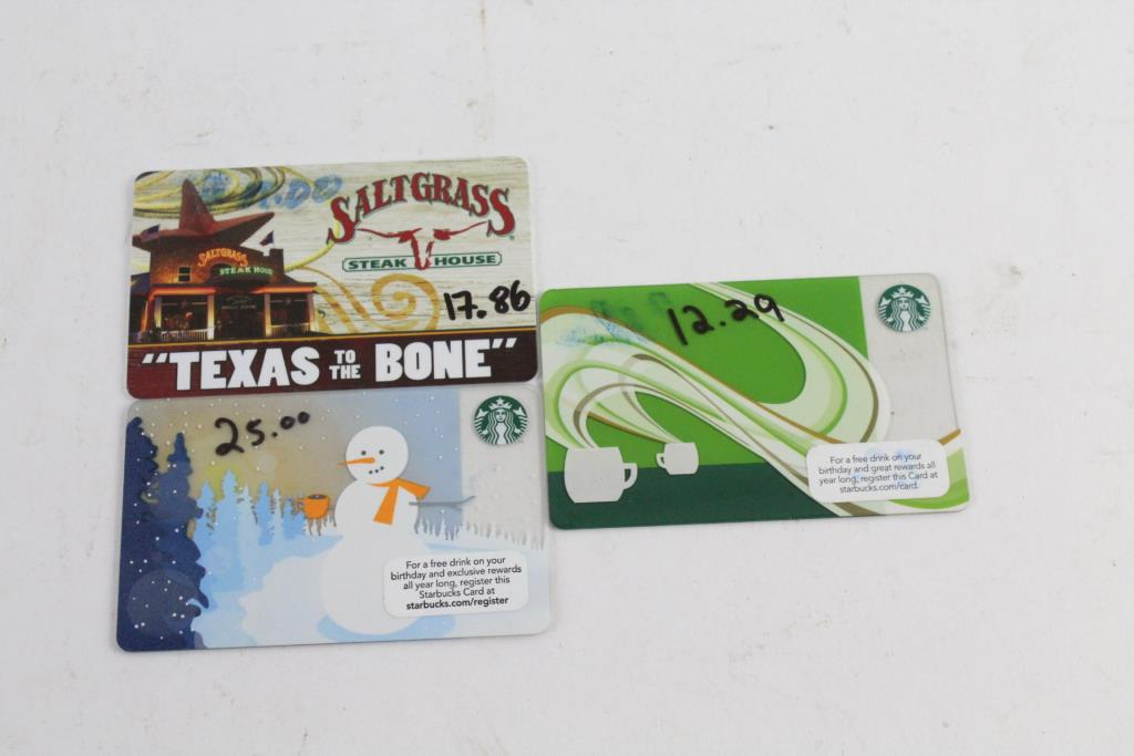 Starbucks And Landrys Gift Cards 5515 3 Pieces Property Room