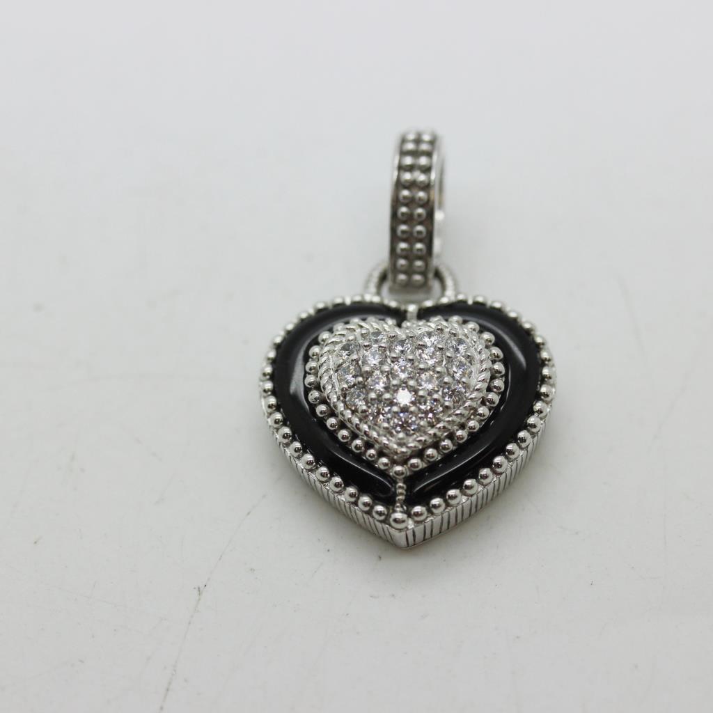Sterling silver 131g judith ripka heart pendant with clear stones sterling silver 131g judith ripka heart pendant with clear stones aloadofball Images