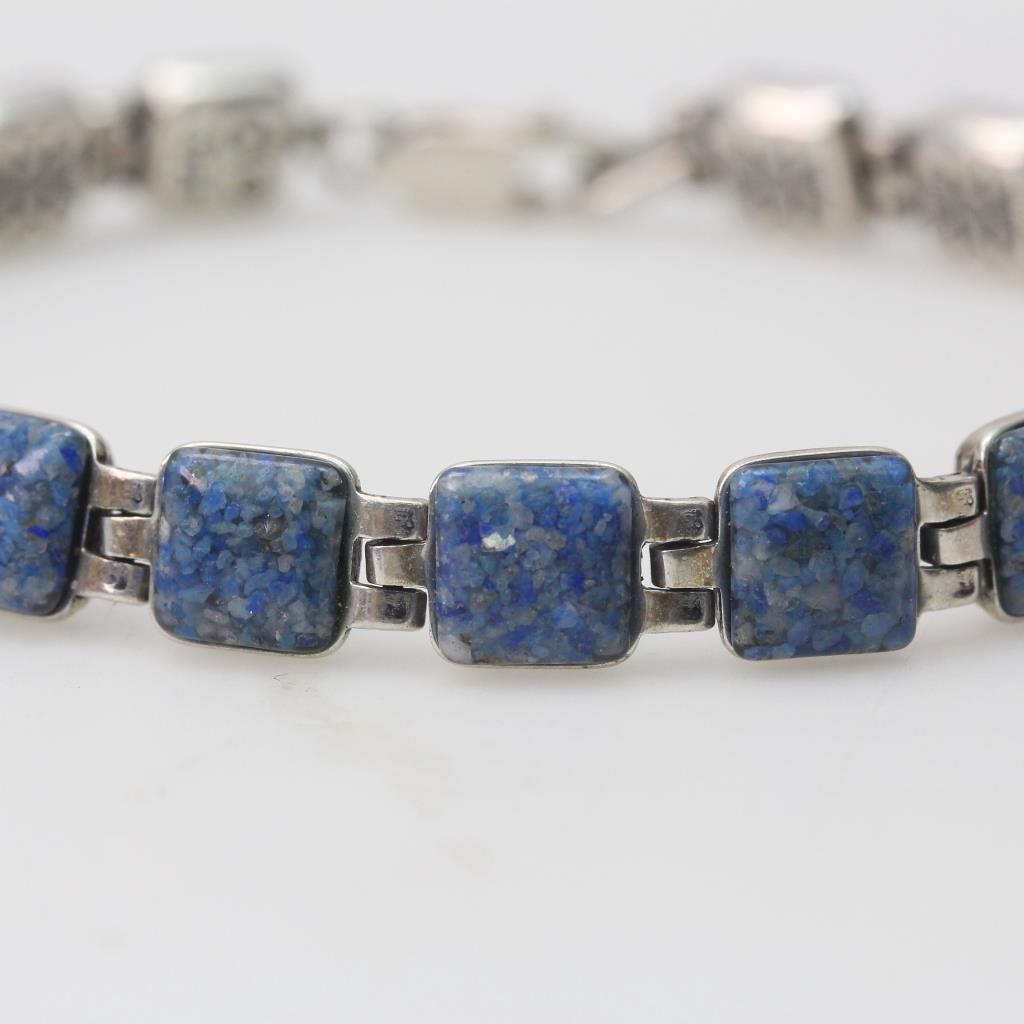 Sterling Silver 14 09g Carolyn Pollack Bracelet With Blue Stones