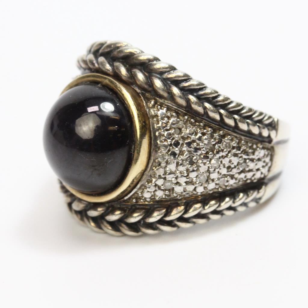af3aa9cb77051 Sterling Silver & 14kt Gold 13.28g Ring With Black Stone And Diamond ...