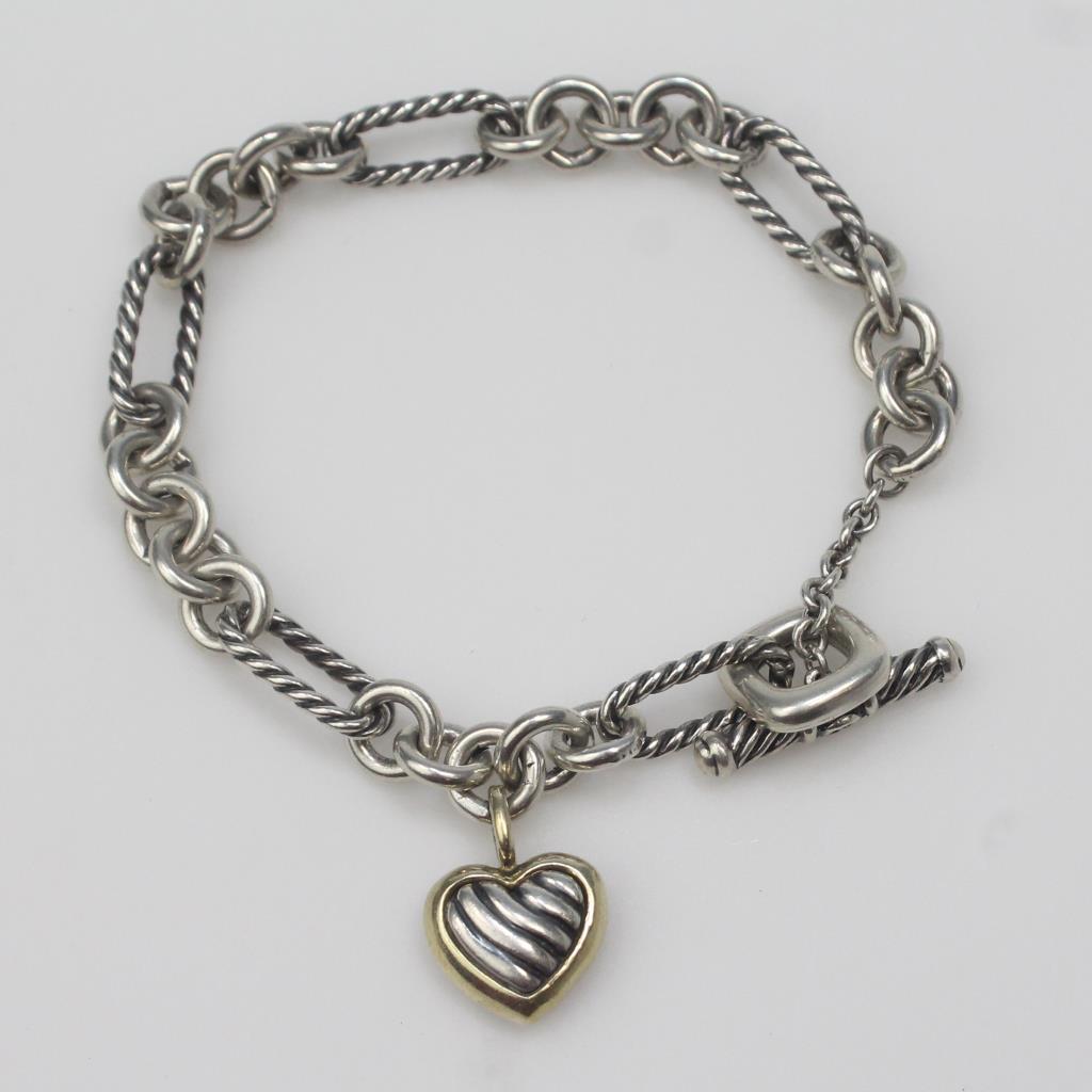 Sterling Silver 18kt Gold 23g David Yurman Cable Heart Charm Bracelet