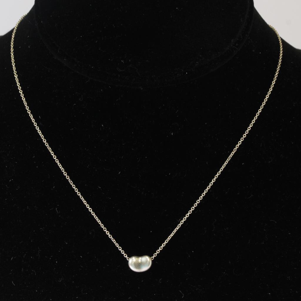 d0e1e2a9d9168 Sterling Silver 2.5g Tiffany & Co. Elsa Peretti Bean Necklace ...