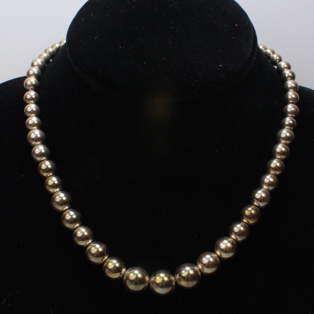 Sterling Silver 27 6g Tiffany Co Beaded Ball Necklace Property Room