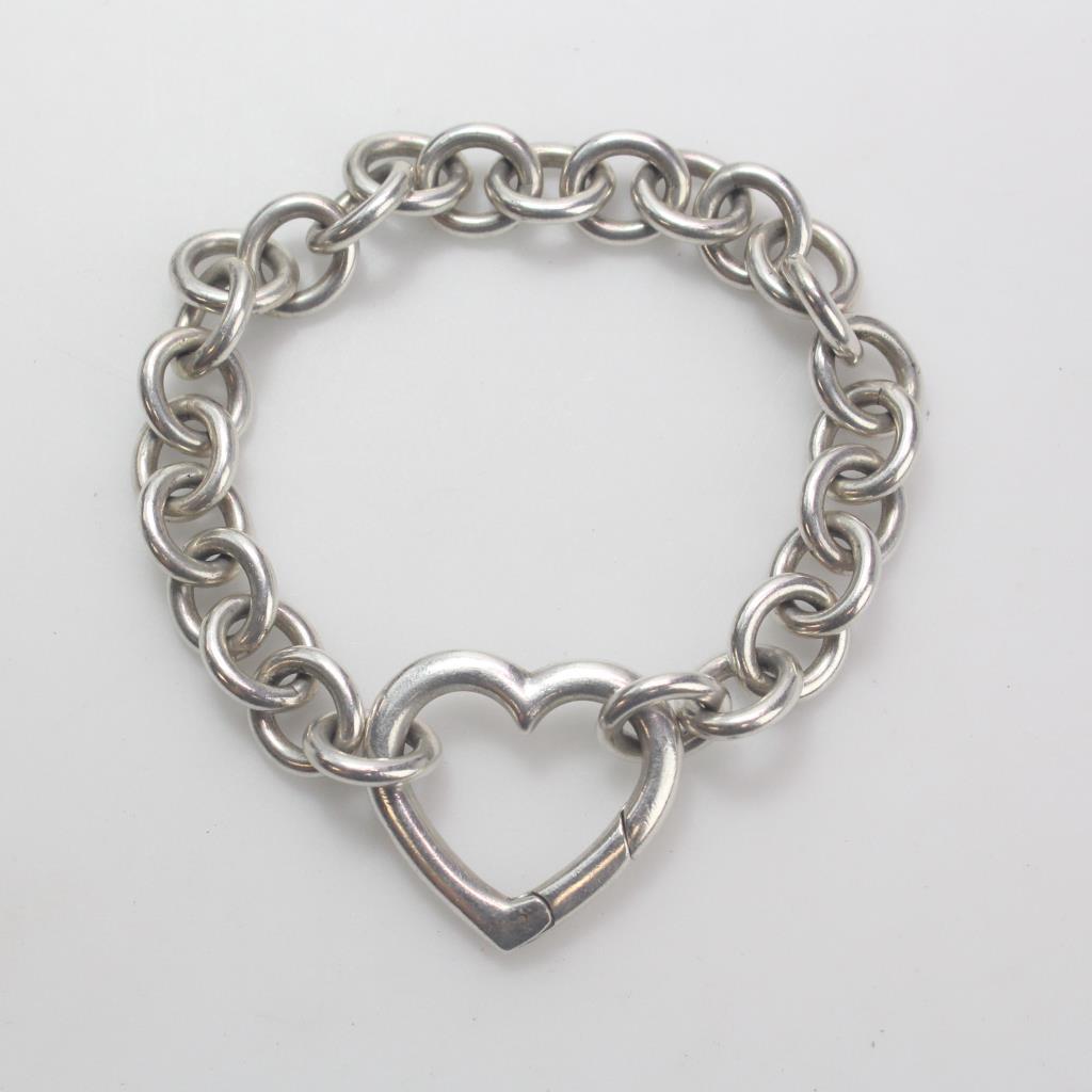 45a28bd7d0ebd Sterling Silver 32.67g Open Heart Clasp Tiffany & Co. Bracelet ...