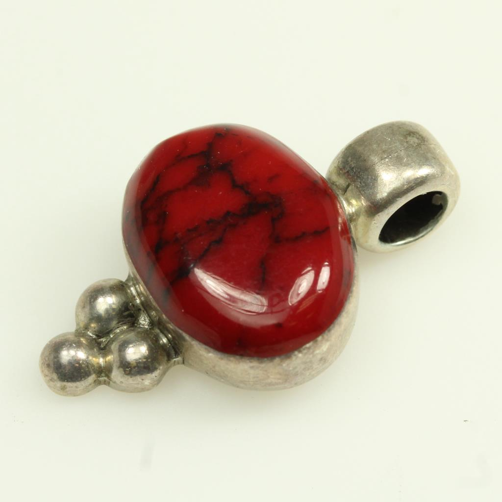 Sterling Silver 7 1g Pendant With Red Stone Hallmark Ati