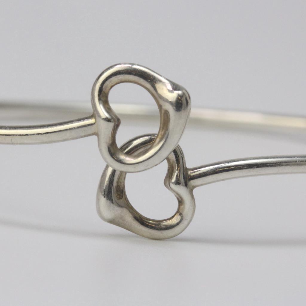 Tiffany Heart Bracelet >> Sterling Silver 7.3g Tiffany & Co. Elsa Peretti Open Heart ...