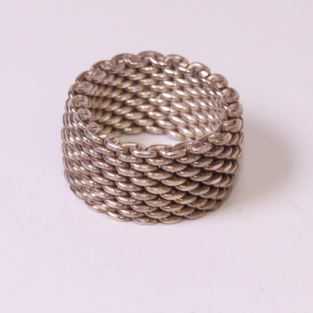 bcc96f82ee23b Sterling Silver 8.7g Tiffany & Co. Mesh Ring | Property Room