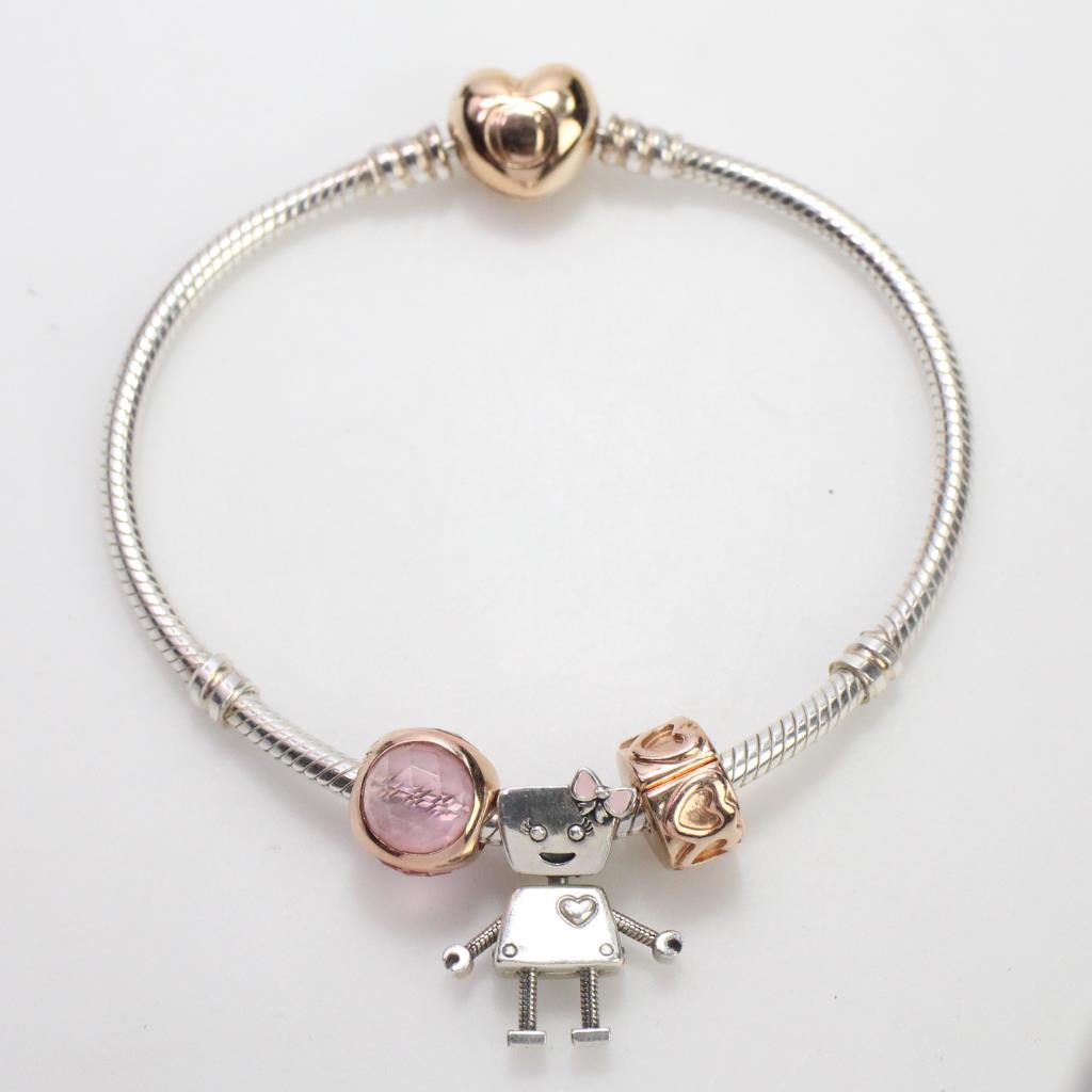 pandora bracelet with rose gold and silver charms