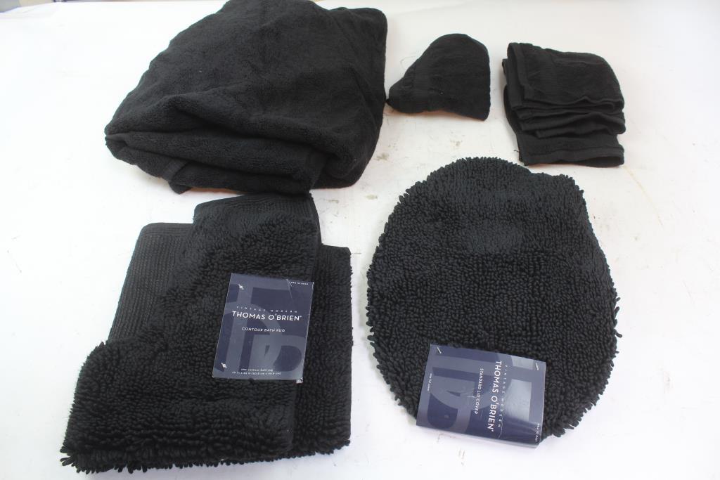 Thomas O Brien Contour Bath Rug Towels Wash Cloths Standard Lid Cover 5 Items