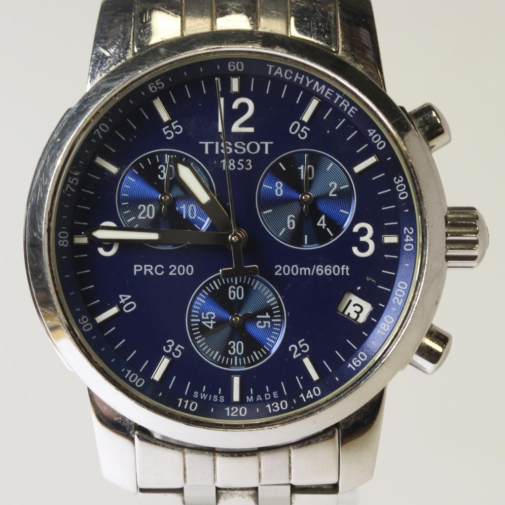 Tissot Prc 200 Blue Dial Chronograph Stainless Steel Watch
