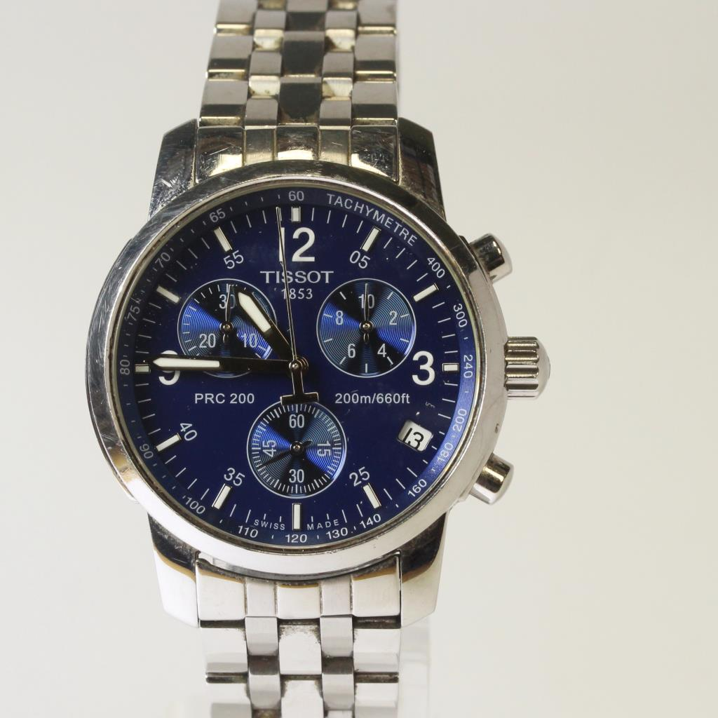 ace5936ce Tissot PRC 200 Blue Dial Chronograph Stainless Steel Watch Watch ...