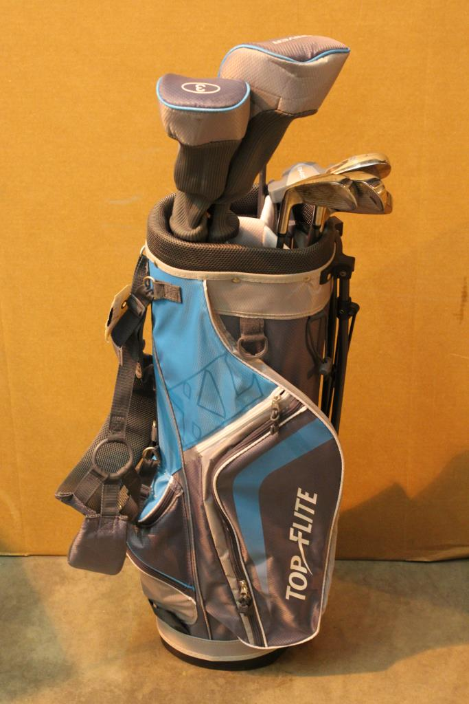 Top Flite Golf Bag With 9 Flight Clubs 10 Pieces