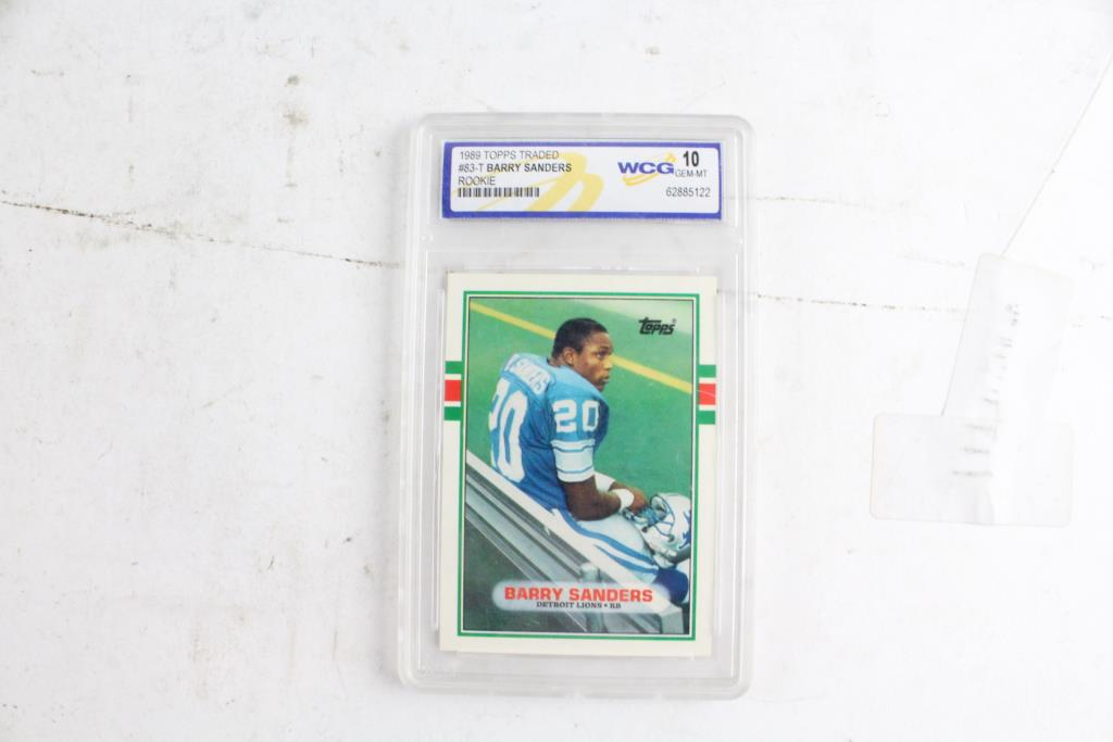 Topps Barry Sanders Rookie Card Wcg 10 Graded Property Room