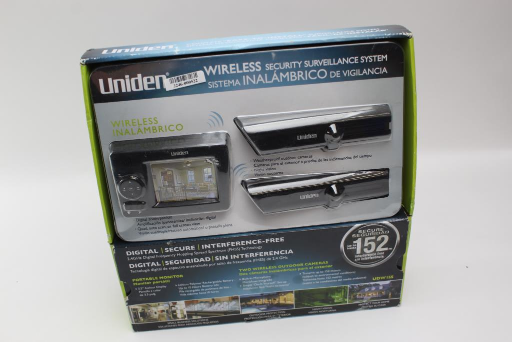Uniden wireless secuirty surveillance system property room