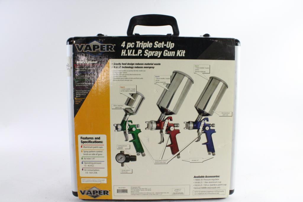 Vaper 4 pc hvlp triple set-up spray gun kit 19220 in usa | ebay.