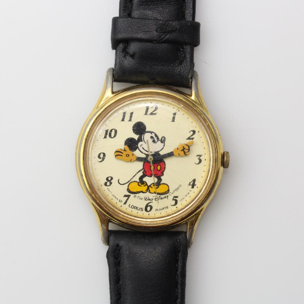 Mickey Mouse Watch Value >> Vintage Lorus Disney Mickey Mouse Gold Tone And Black