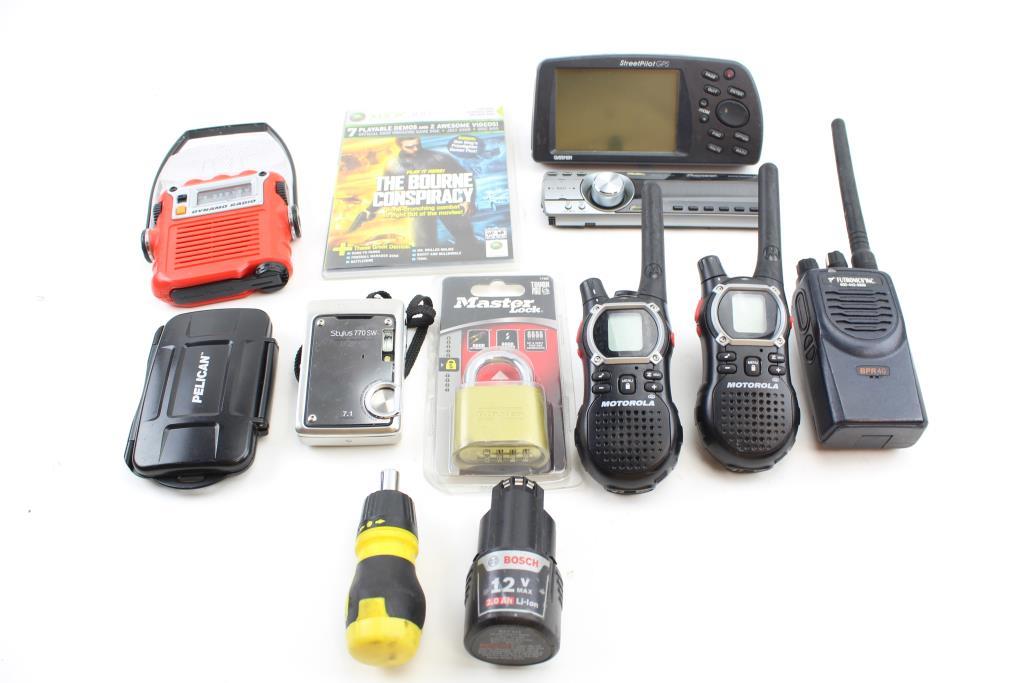 Walkie Talkies, Olympus Camera, Garmin Gps Navigator And