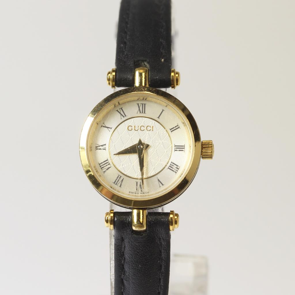 e49ddc2944f28 Womens Gucci Watch With Black Leather Band | Property Room