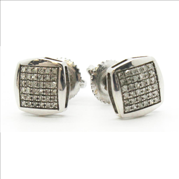 12g 10kt White Gold Earrings With Diamond Chip Accents
