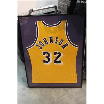 b8ff83aa289 Framed Lakers Jersey With Magic Johnson Autograph