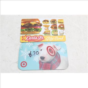carl s jr gift card gift cards lot target carl s jr 2 items property room 9721