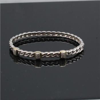 Sterling Silver 14 1g Alwand Vahan Bracelet With 14kt Gold