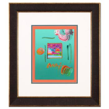 "Peter Max! ""Cosmic Sunset"" Framed One-Of-A-Kind Acrylic Mixed Media, Hand Signed with Certificate. List $3,500"