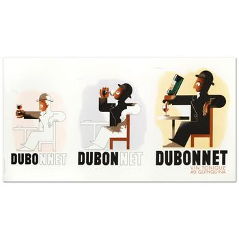 """""""Dubo Dubon Dubonnet"""" Hand Pulled Lithograph by the RE Society, Image Originally by Adolpho Cassandre w/Cert! List $425"""