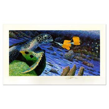 """Robert Lyn Nelson - """"The Turtle and the Butterfly"""" Ltd Ed Embossed Lithograph, No. 78/350 and Hand Signed with Cert. $1,500"""