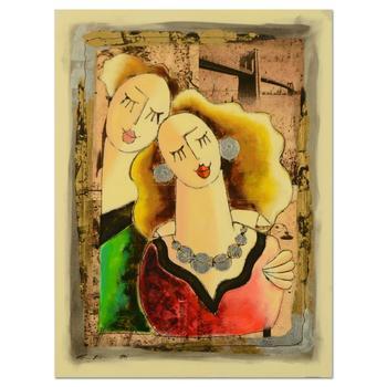 "Oz El Hai, ""A Love Duet (v3)"" Original Mixed Media Painting on Board; Hand Signed; COA"
