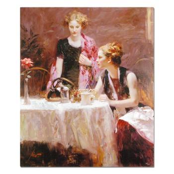 """Pino(1939-2010), """"After Dinner"""" Framed Ltd Ed Artist-Embellished on Canvas PP No.& Hand Signed w/Cert! $5,500"""
