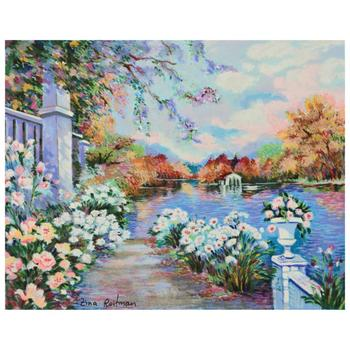 """Zina Roitman! """"Lac Fleuri"""" Limited Edition Serigraph on Canvas Board, Numbered and Hand Signed by the Artist! List $750"""