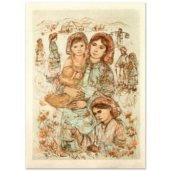 "Edna Hibel (1917-2014)! ""Family in the Field"" Limited Edition Lithograph, Numbered and Hand Signed with Certificate! List $1,725"