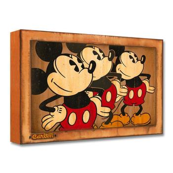 """Three Vintage Mickeys"" Limited edition gallery wrapped canvas by Trevor Carlton from the Disney Treasures collection; with COA."